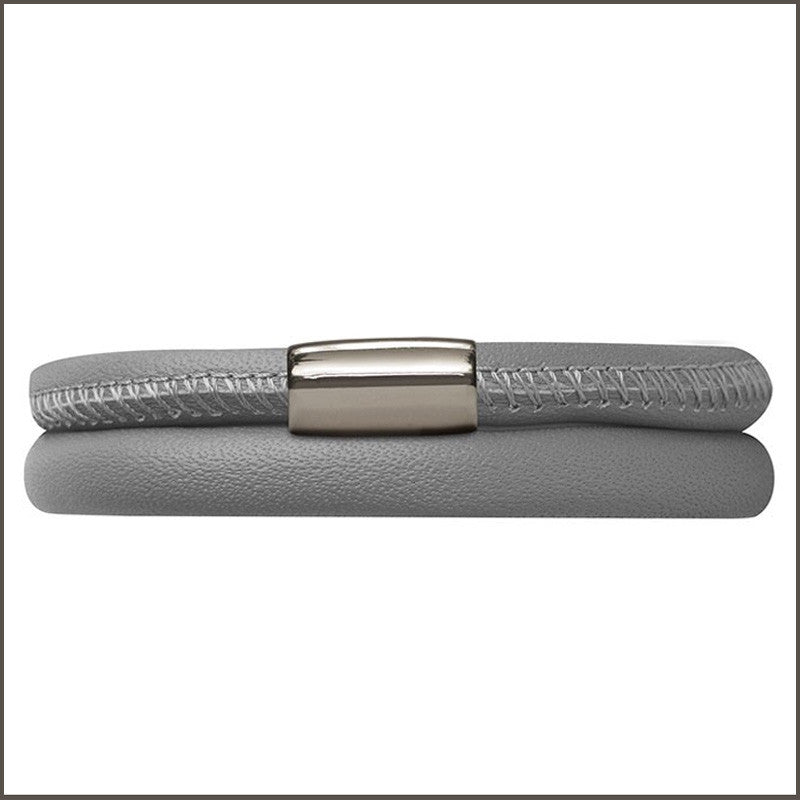 Endless Personalized Collection Leather Bracelet in Gray Color with Sterling Silver Clasp