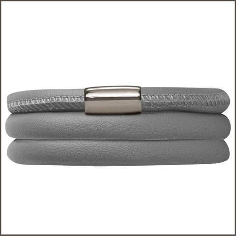 Endless Personalized Collection Leather Bracelet in Gray Color with Silver Clasp