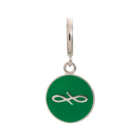 Endless Charm with Green Enamel Infinity Sign in Sterling Silver.