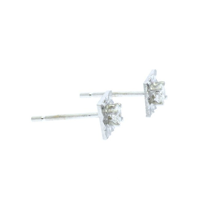 Illusion Set Diamond Studs in Princess Shape