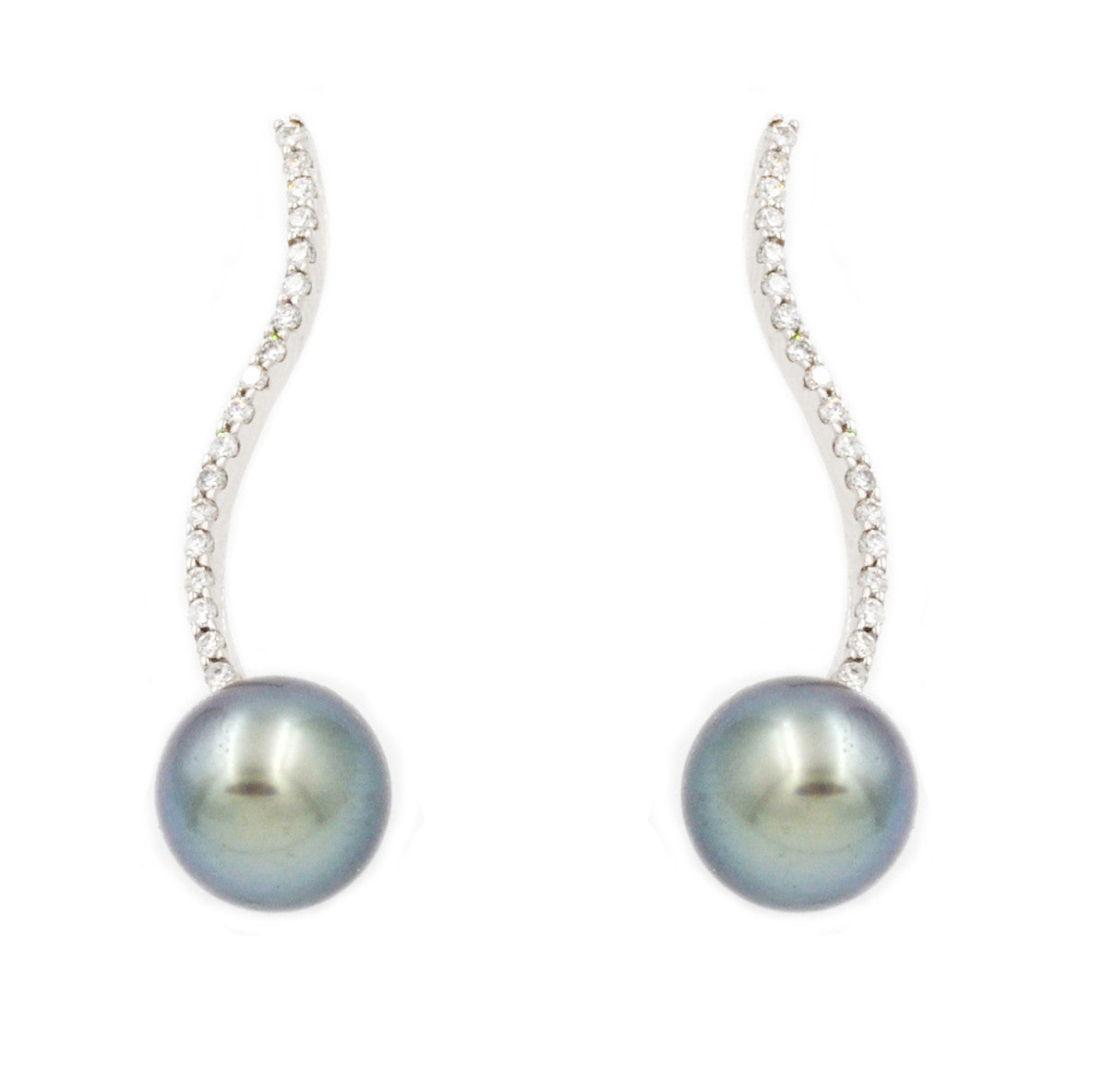 Tahitian Pearls and Diamond Earrings in 14k White Gold
