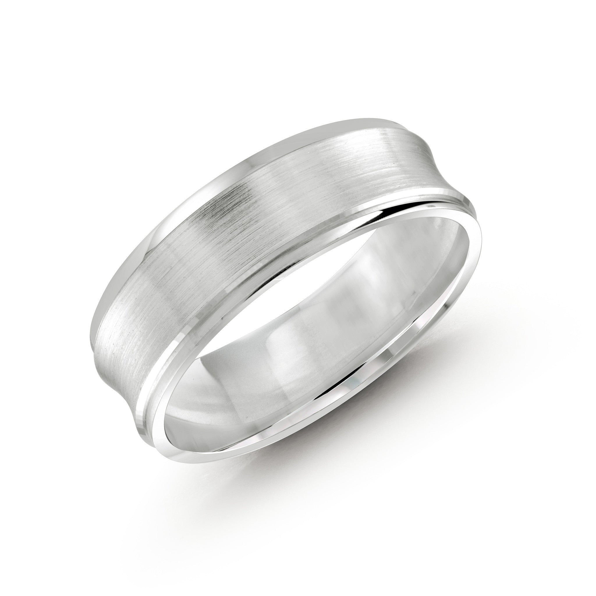 malo men white gold wedding band with concave satin design