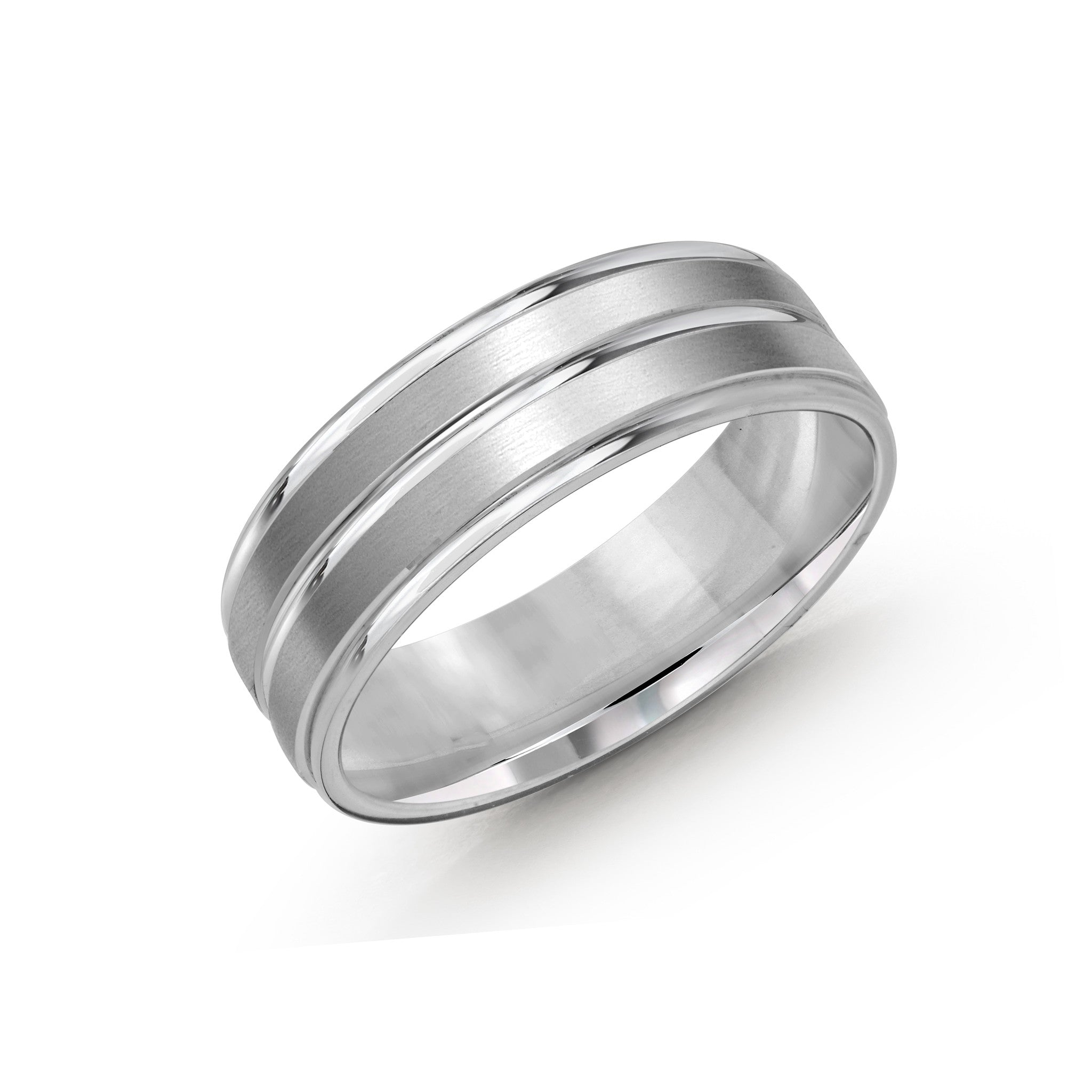 Malo Men's 10k White Gold Wedding Band With Striped Satin Finish