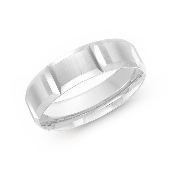 Malo Men White Gold Wedding Band Etched Design with Satin Prospect