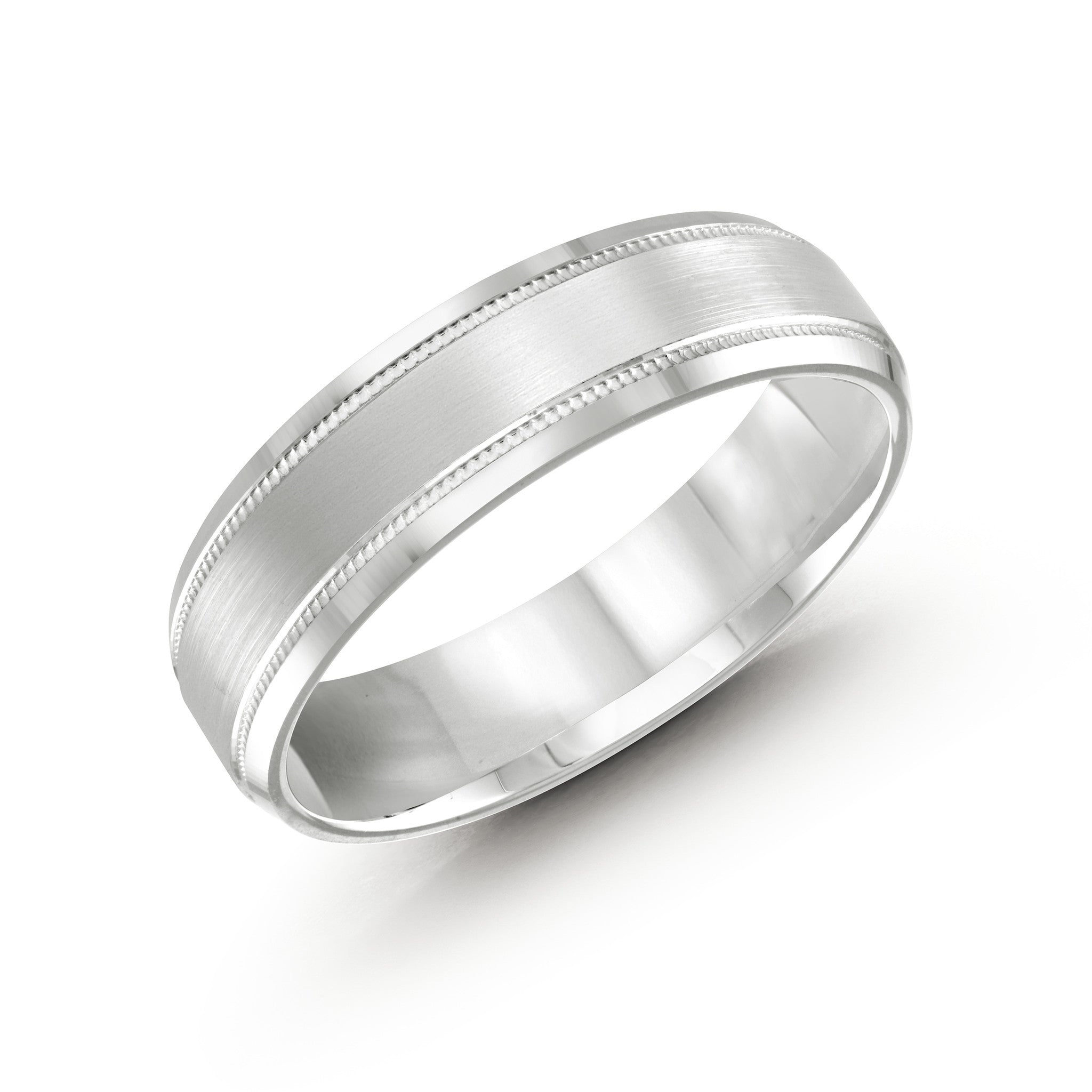 Malo Mens White Gold Wedding Band With Satin Finish, Milgrain, and Stripes