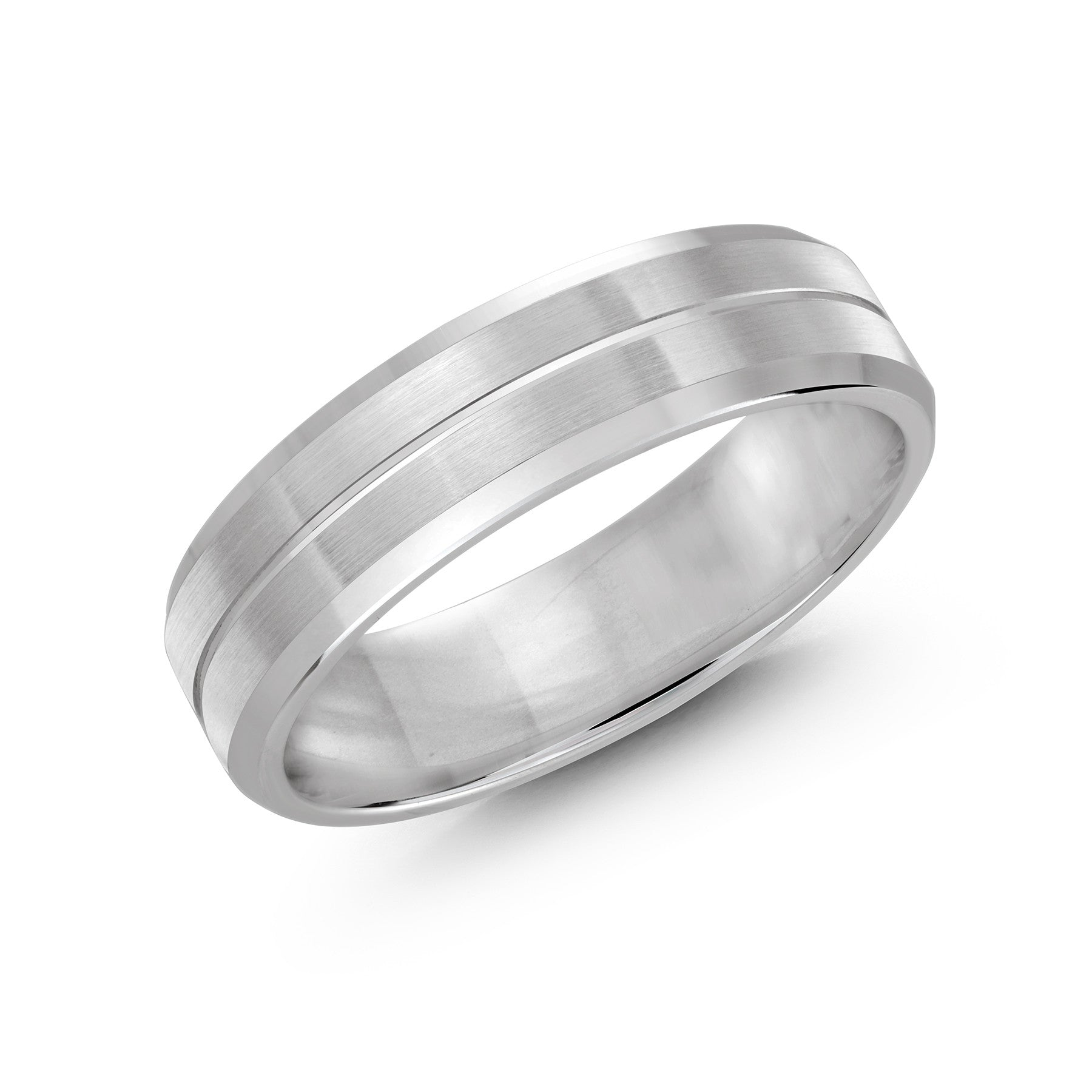 Malo Mens White Gold Wedding Band With Satin Finish