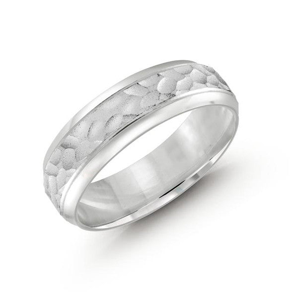 Malo Men White Gold Wedding Band with Hammered Striped Design