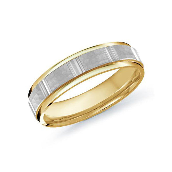 Malo Men's 10k Yellow and White Gold Wedding Band With Hammered Finish