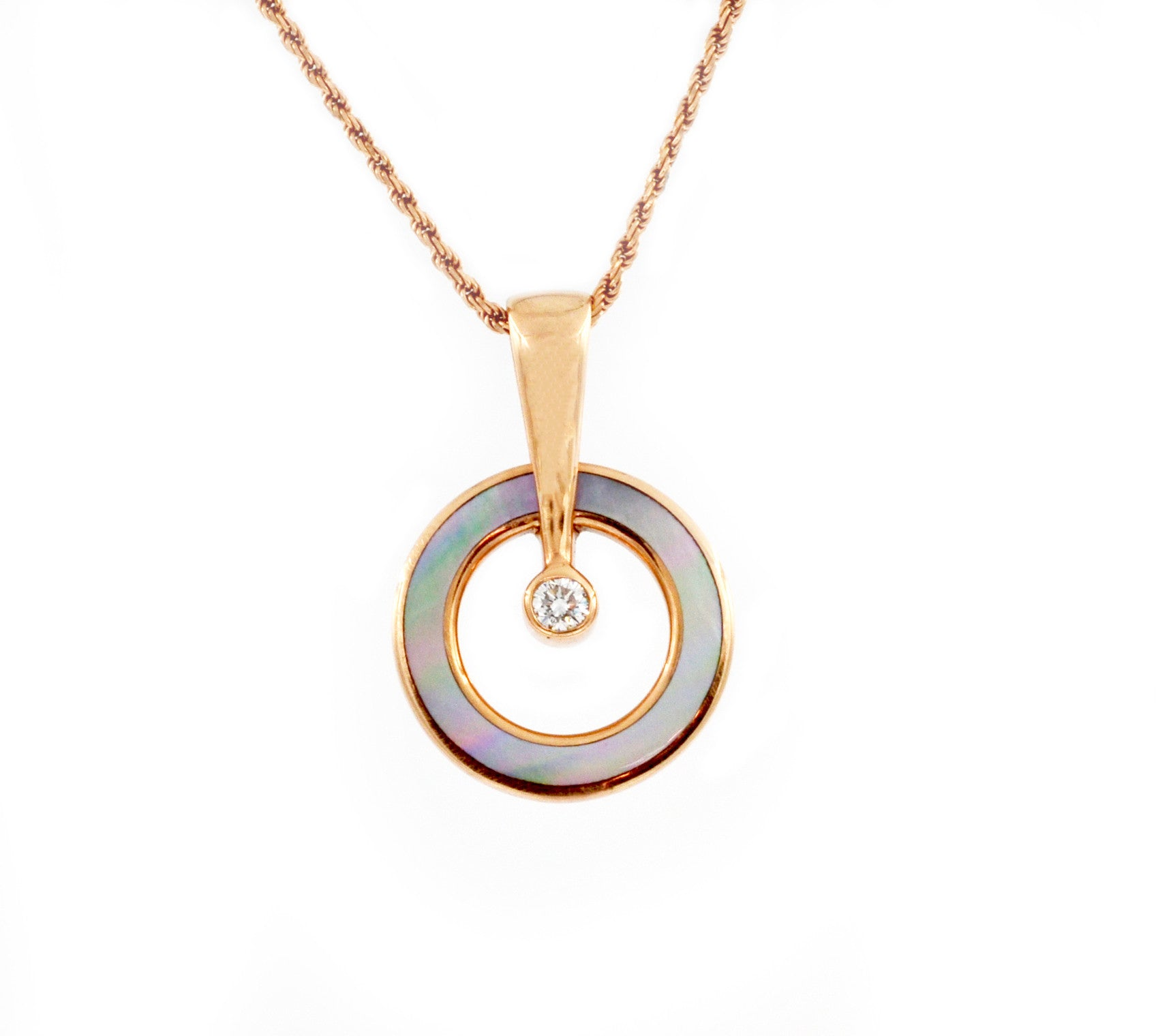 Kabana 14k Rose Gold Diamond and Mother of Pearl Pendant