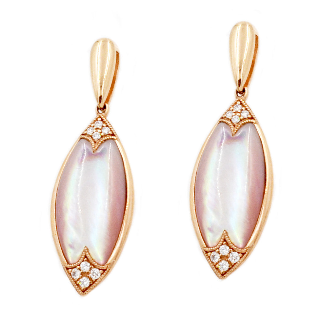 Kabana 14k Rose Gold Mother of Pearl and Diamonds Earrings