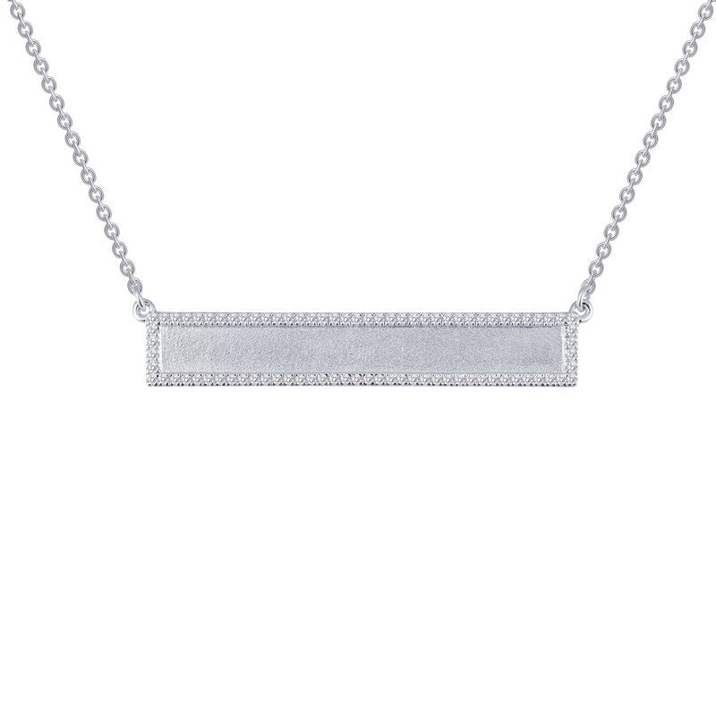 Sterling Silver and Platinum Bar Necklace by Lafonn