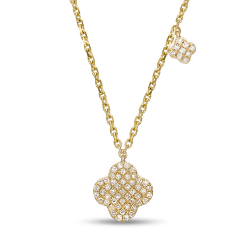 Yellow Gold Diamonds Flower Pendant