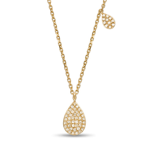 Designer Diamond Teardrop Pendant in Yellow Gold