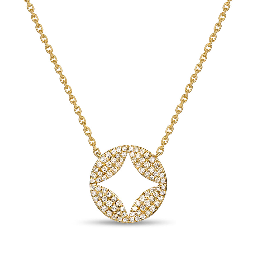 Diamond Circle Pendant with Negative Space Elements by Jewelry Designer Luvente
