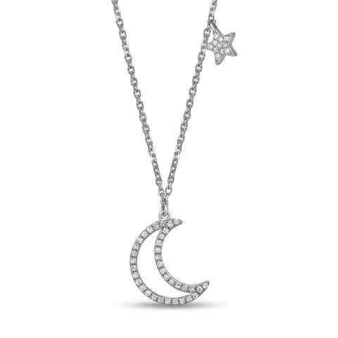 White Gold Moon and Star Pendant by Jewelry Designer Luvente