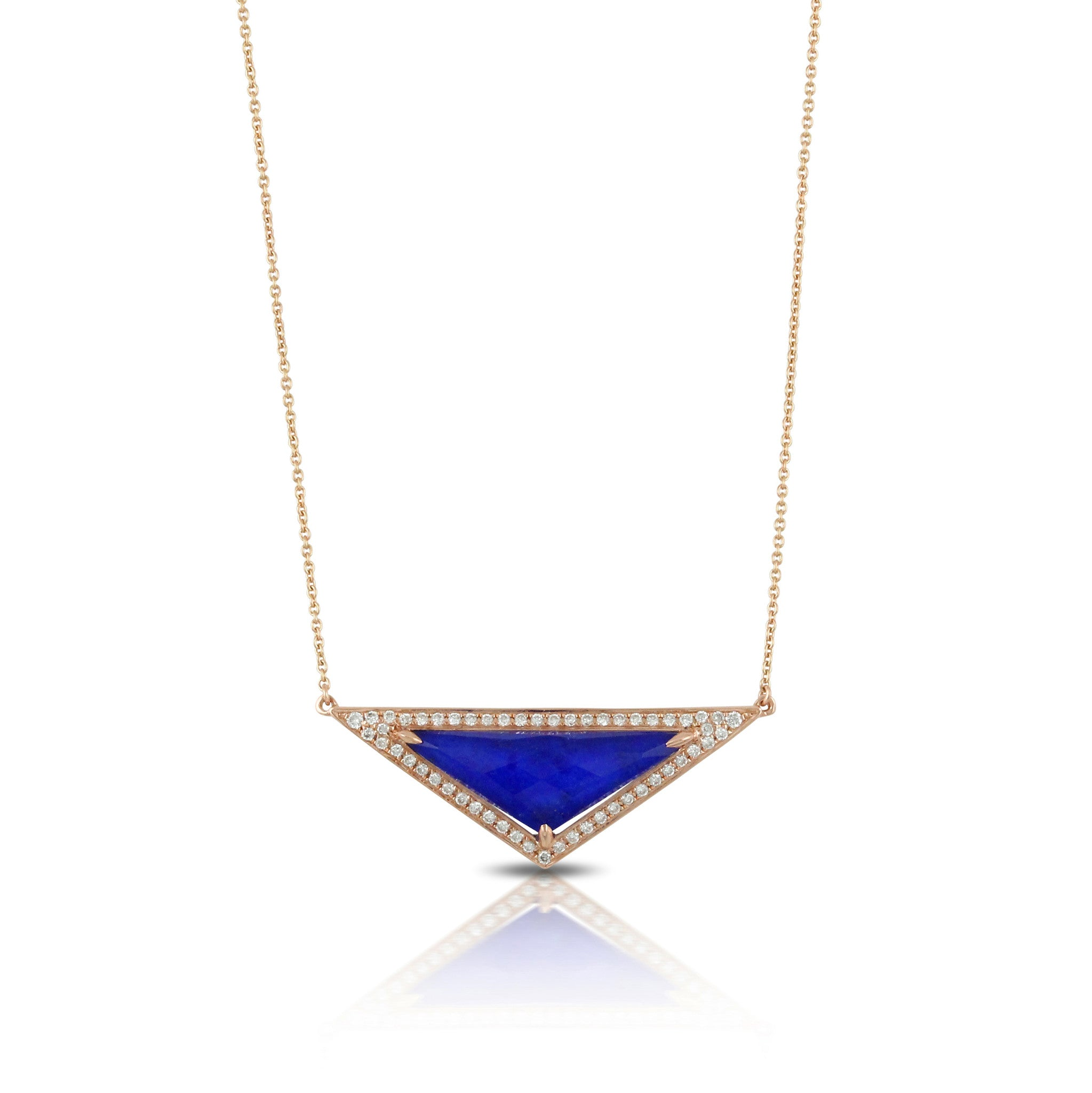 Doves Royal Lapis Rose Gold Diamond Pendant in Eighteen Carat Gold