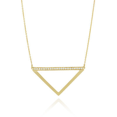 Doves Ladies 18k Yellow Gold Diamond Geometric Necklace