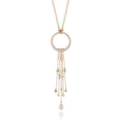 Doves Ladies' 18k Rose Gold Diamond Pendant with Diamond Studded Strands