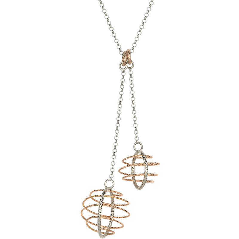 Sterling Silver and Rose Gold Orbit Drop Pendant by Frederic Duclos