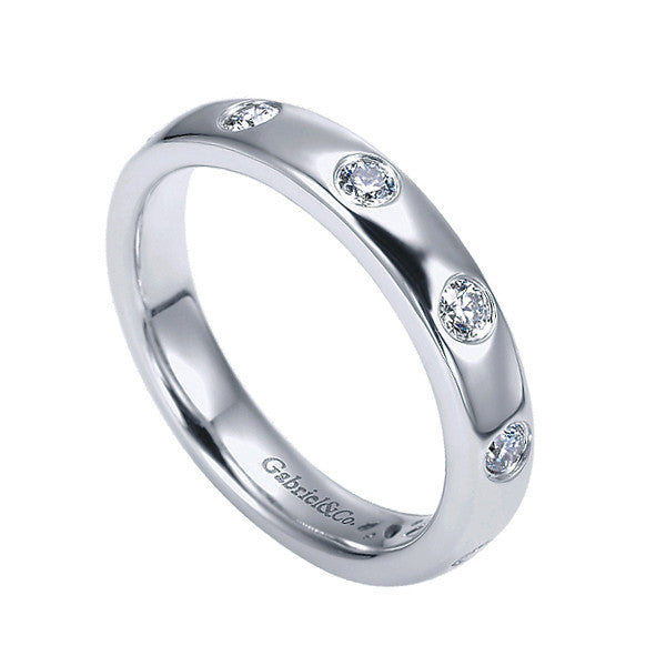 Eternity White Gold Diamond Satin Band