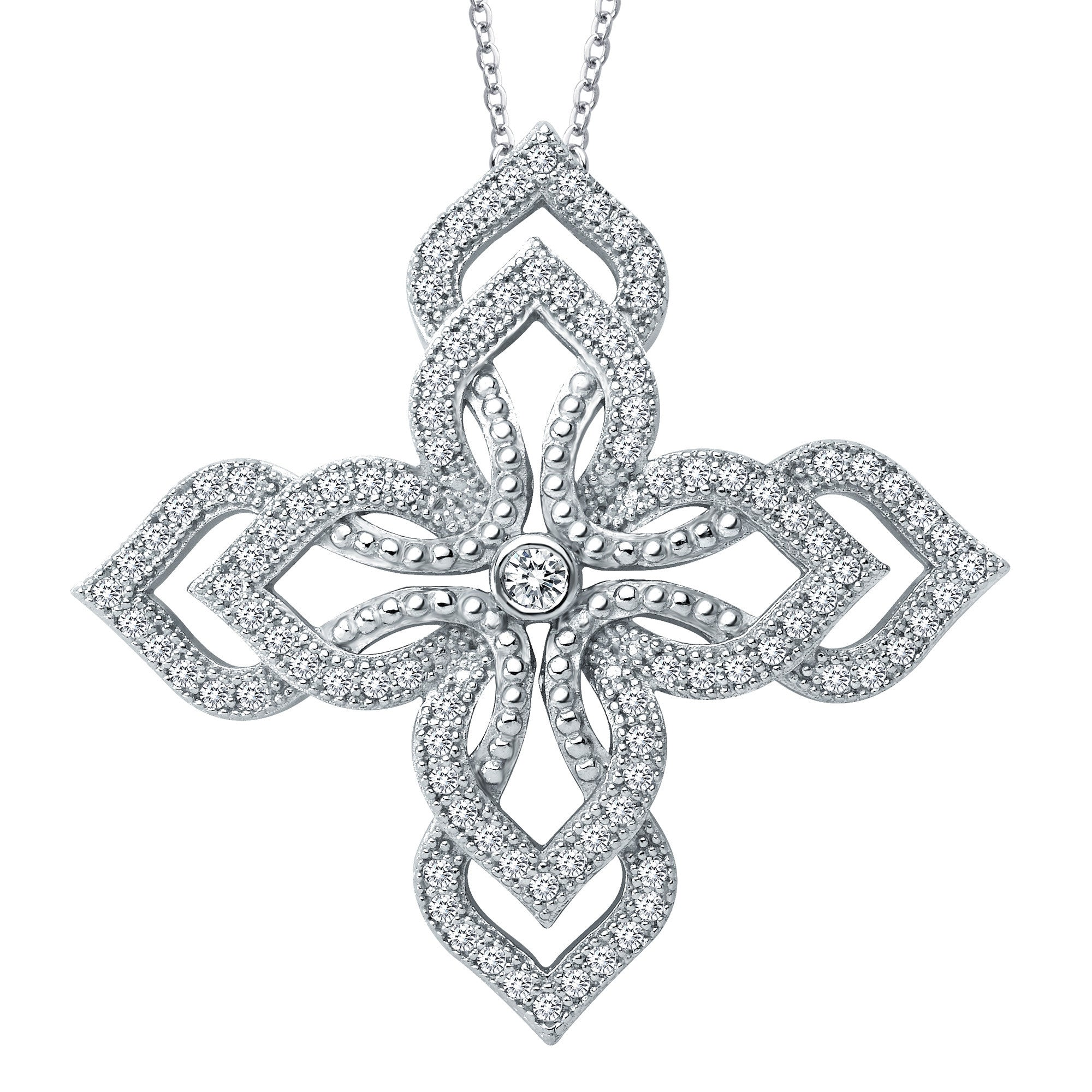 Simulated Diamonds Sterling Silver and Platinum Floral Necklace by Lafonn