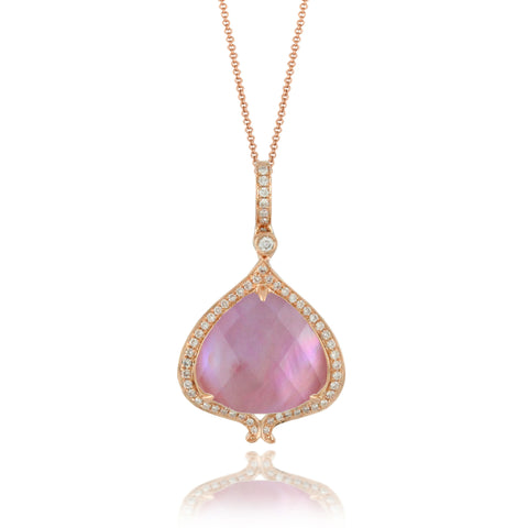 Doves Rose Gold Diamond Pendant with Amethyst and Mother of Pearl in Eighteen Carat