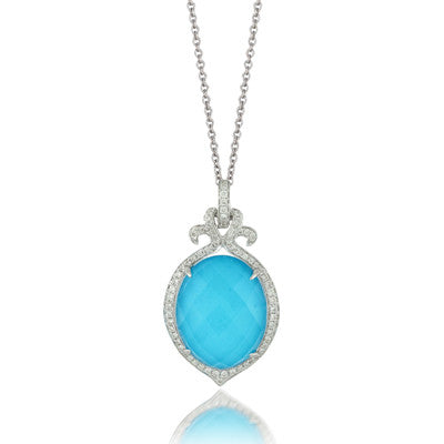 Doves White Gold Turquoise, Diamonds, and White Topaz Pendant