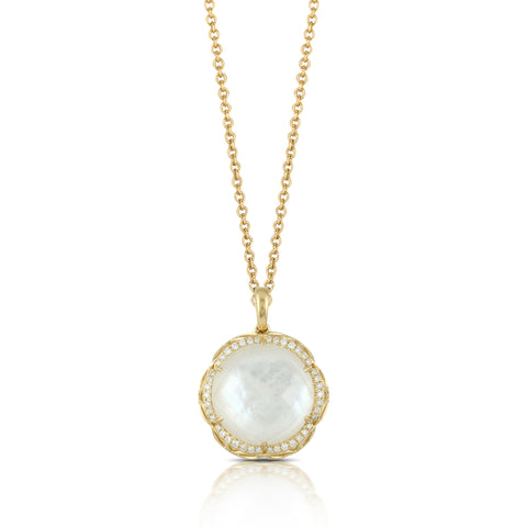 Doves White Orchid Eighteen Karat Yellow Gold Pendant with Mother of Pearl and Diamonds