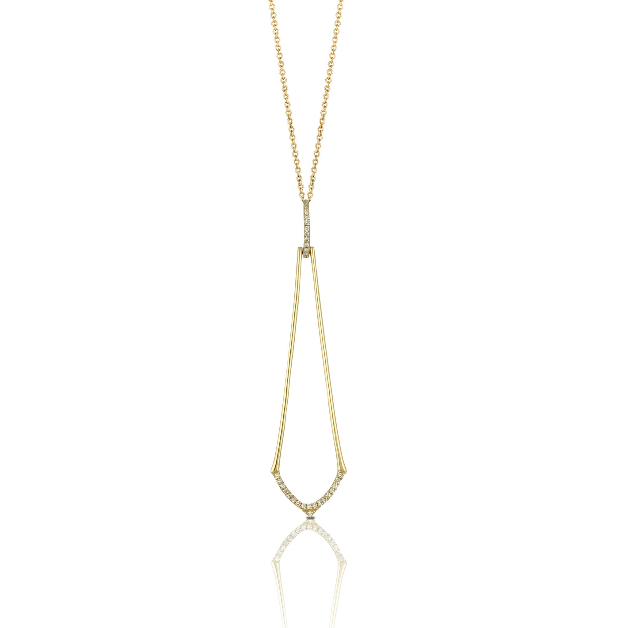 Doves Ladies' 18k Yellow Gold Diamond Negative Space Pendant by Jewelry Designer Doron Paloma