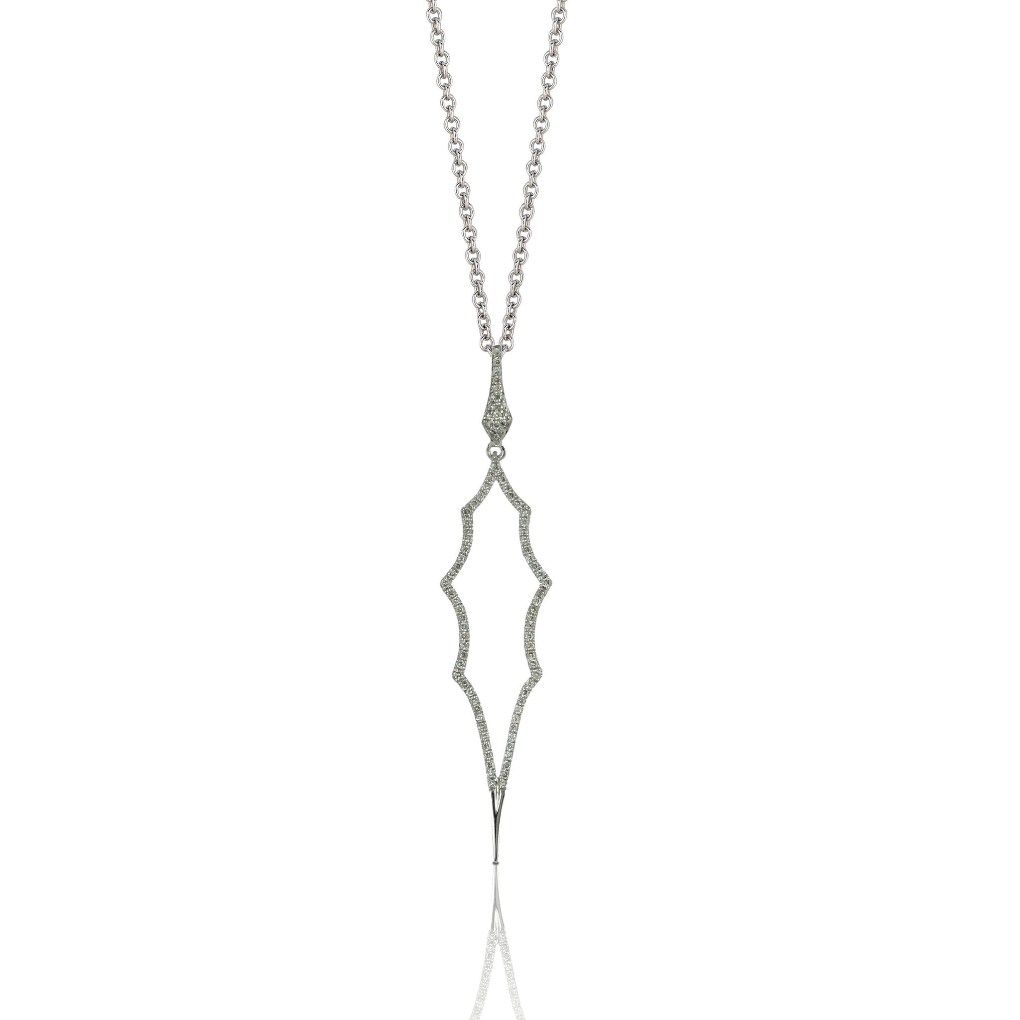Doves Ladies' 18k White Gold Diamond Pendant with Geometric Design by Doron Paloma