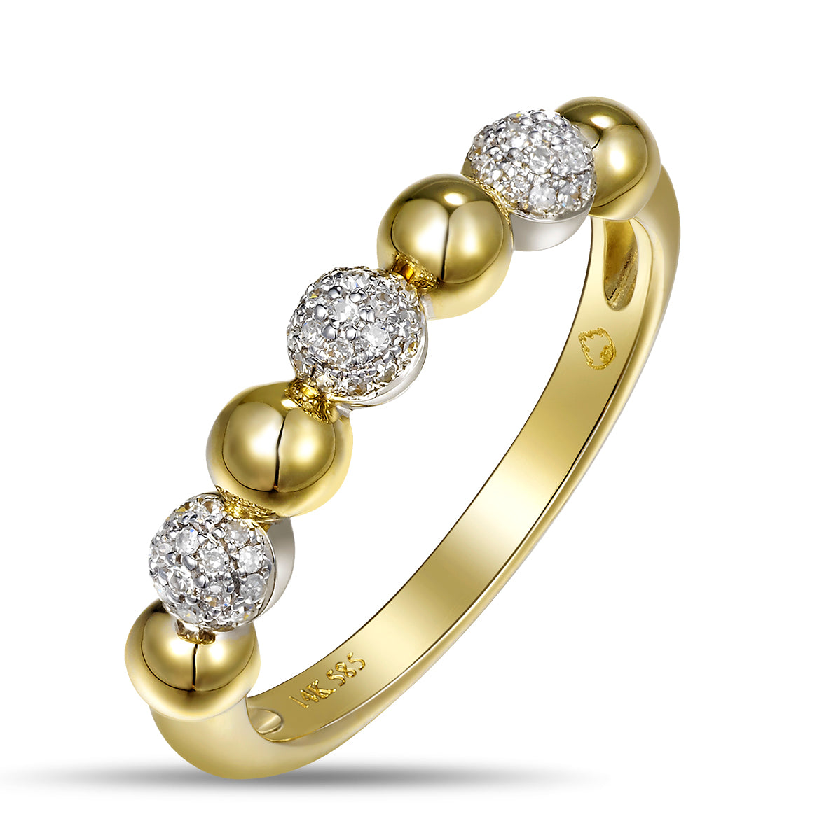 Yellow Gold Diamond Pods Band Inspired by Van Cleef and Arpels design