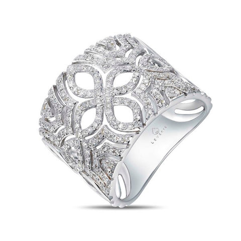 White Gold Filigree Diamond Anniversary Band by Jewelry Designer Luvente