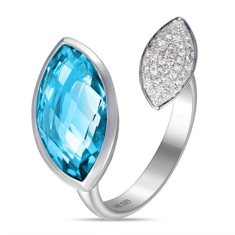 White Gold Diamonds and Blue Topaz Criss Cross Bypass Ring