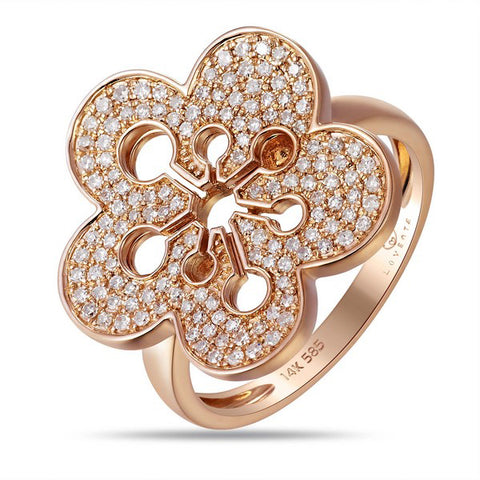 Rose Gold Diamond Flower Ring by Jewelry Designer Luvente