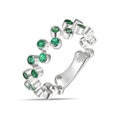 White Gold and Emeralds Fashion Band by Jewelry Designer Luvente