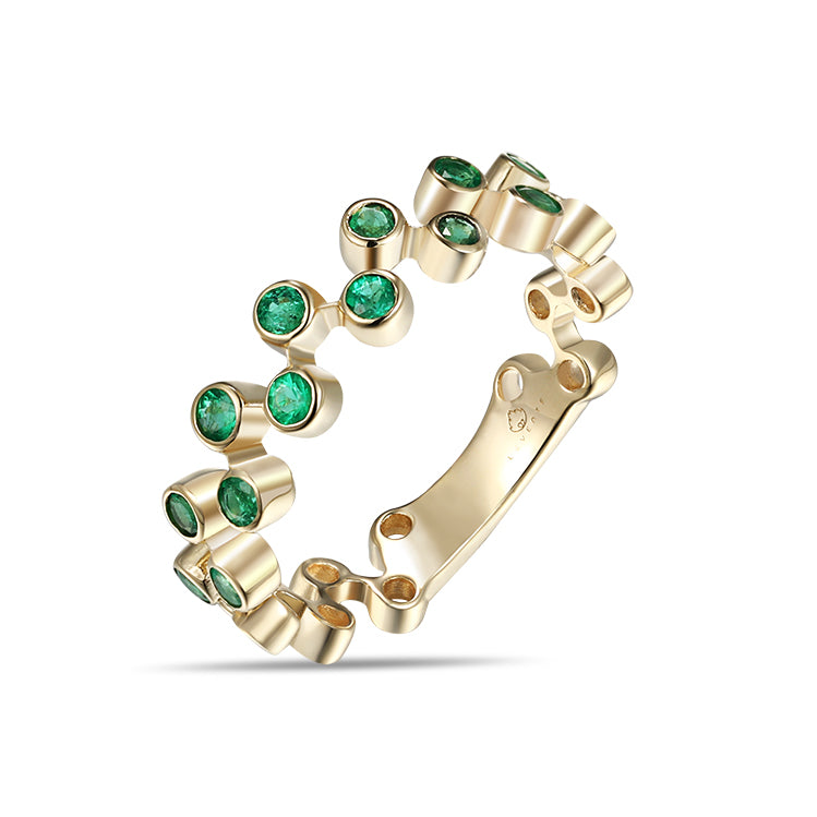 Yellow Gold Bezel Emeralds Fashion Band