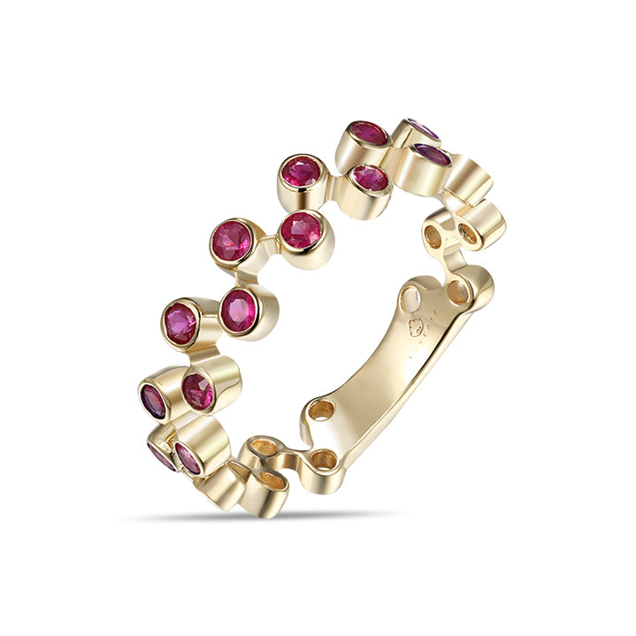 Yellow Gold Rubies Stackable Band