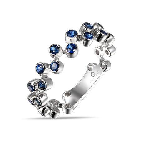 White Gold Sapphires Fashion Band by Jewelry Designer Luvente