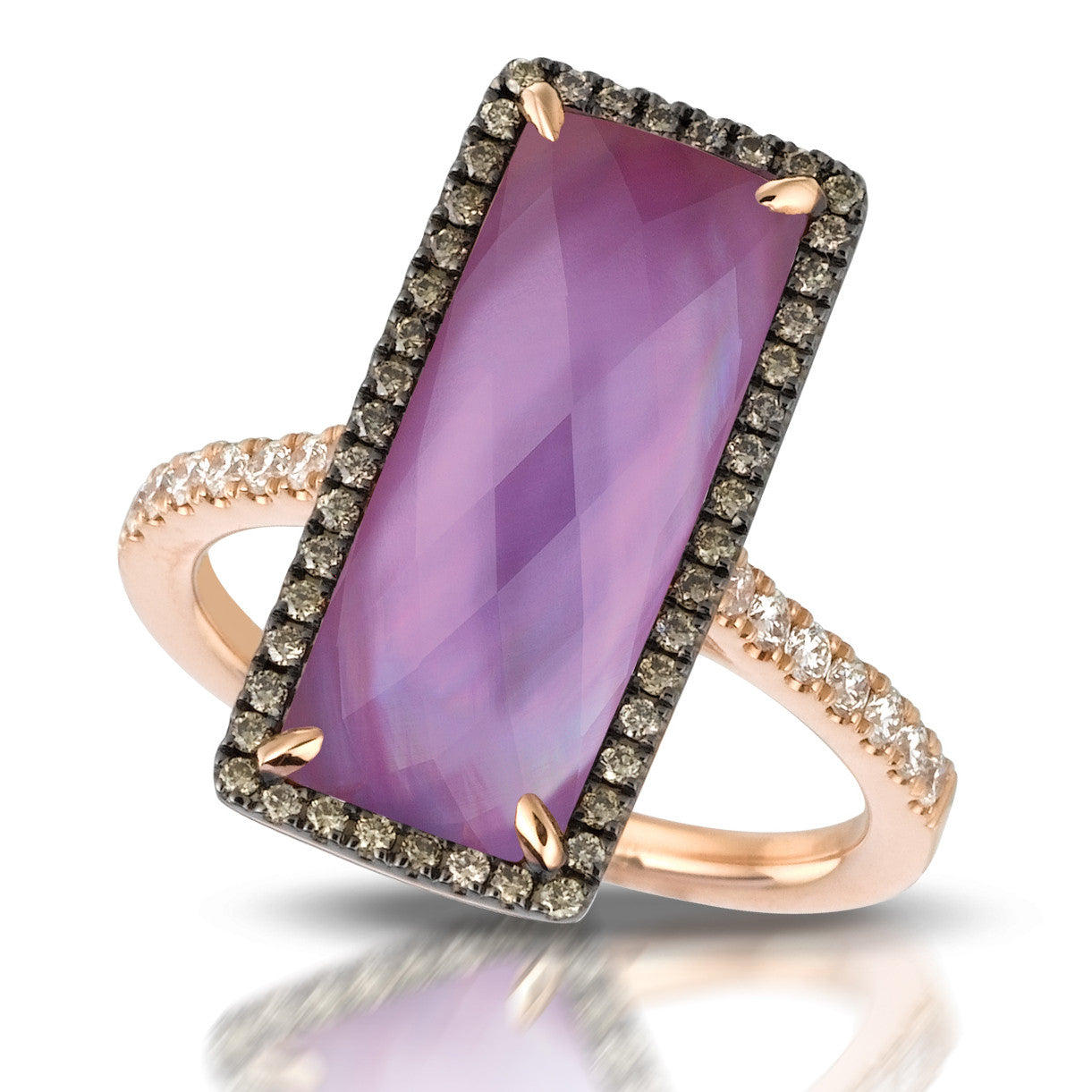 Doves Rose Gold Diamond Ring with Amethyst and Mother of Pearl in Eighteen Carat