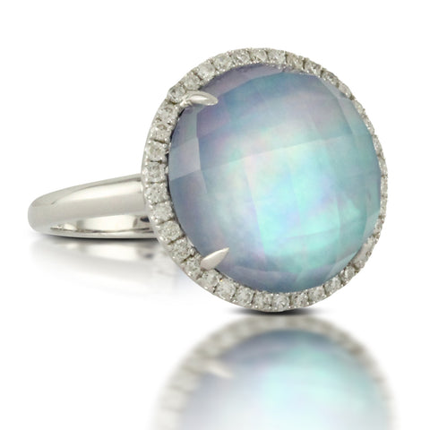 Doves Ivory Sky White Gold Ring with Blue Lapis, Mother of Pearl and Pave set Diamonds