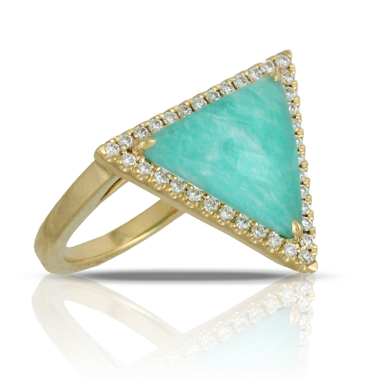 Doves Amazon Breeze 18k Yellow Gold Ring with Amazonite, White Topaz and Pave Set Diamonds