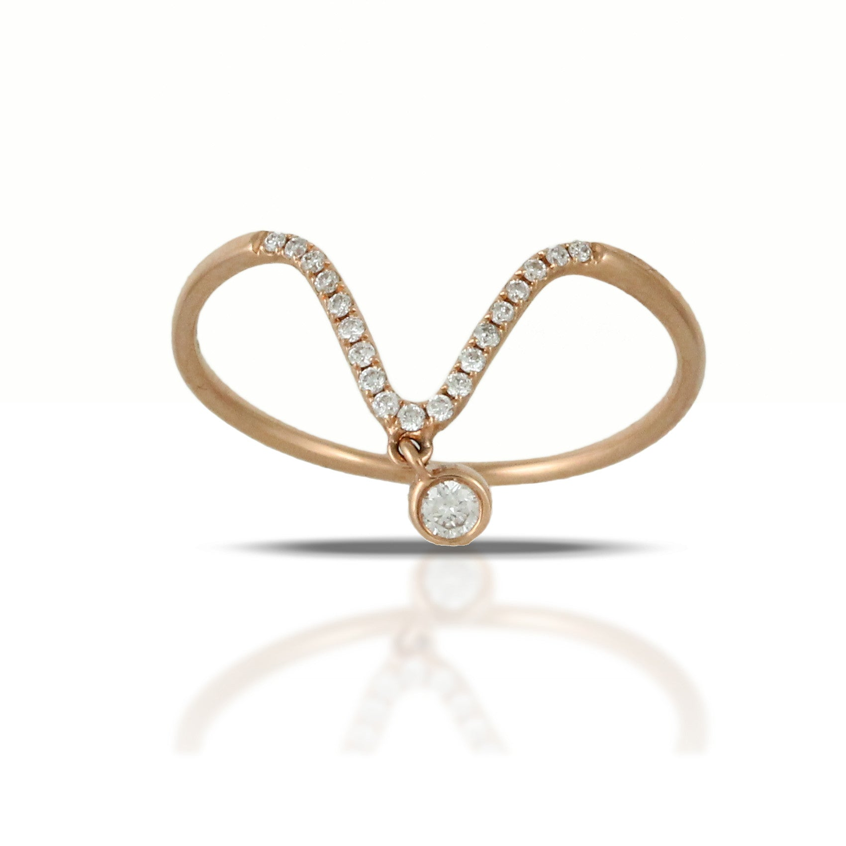 Doves Ladies 18k Rose Gold Curved Diamond Ring with a Diamond Drop