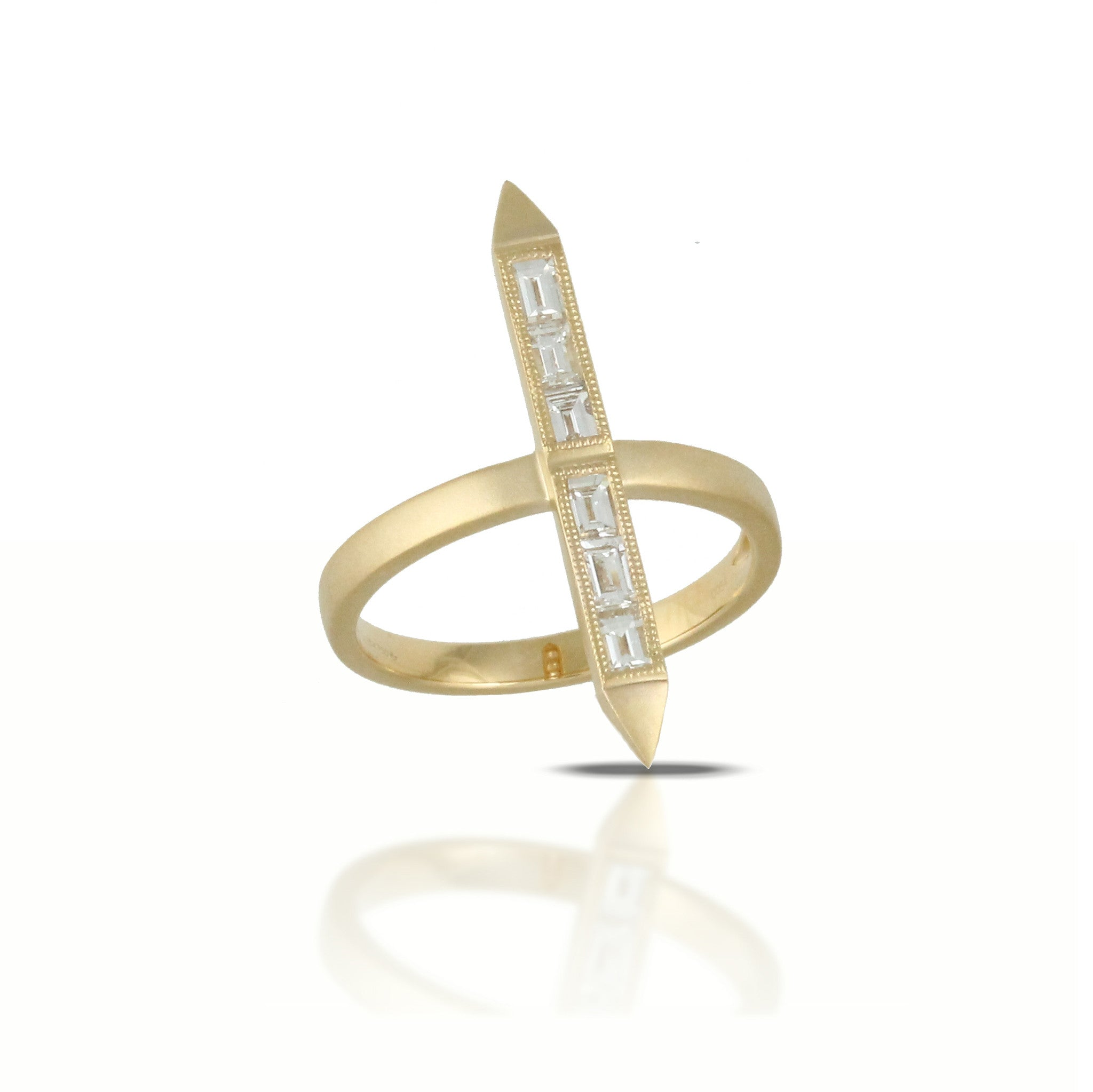 Doves 18k Yellow Gold Diamond Art Deco Geometric Ring by Jewelry Designer Doron Paloma