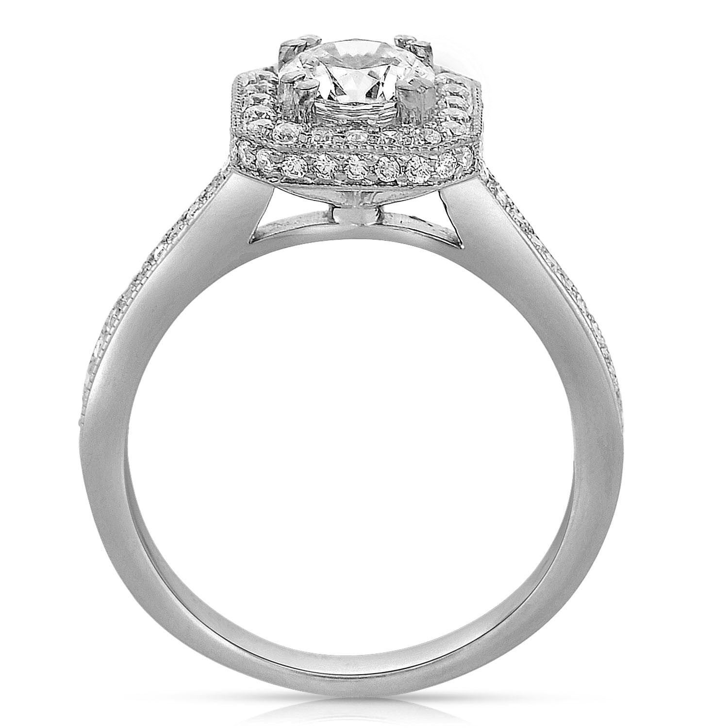 Ladies' Cushion Halo 14k White Gold Engagement Ring