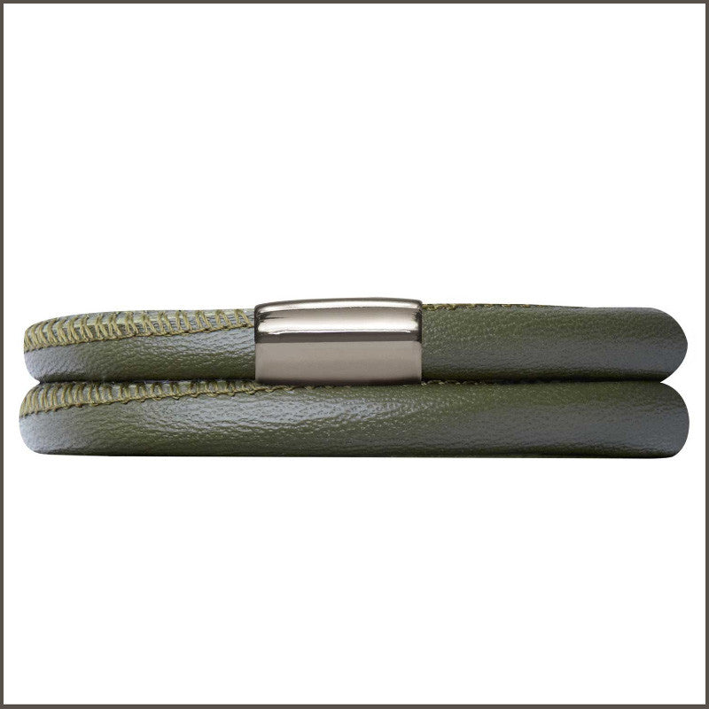 Endless Personalized Collection Leather Bracelet in Olive with Silver
