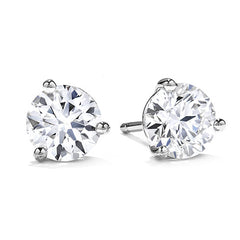 Round Brilliant Diamonds Studs in Three Prong Setting
