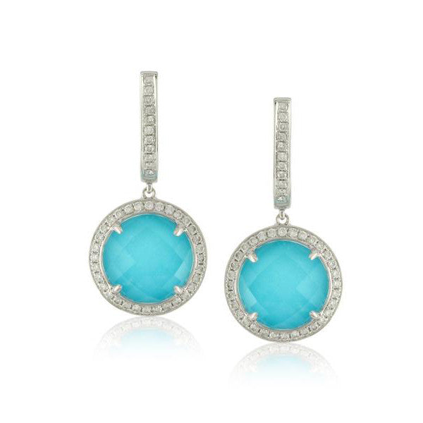 Doves White Gold Turquoise, Diamonds, and White Topaz Earrings by Jewelry Designer Doron Paloma