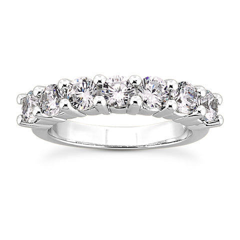 Single Row Classic Prong Set Diamond Band in White Gold