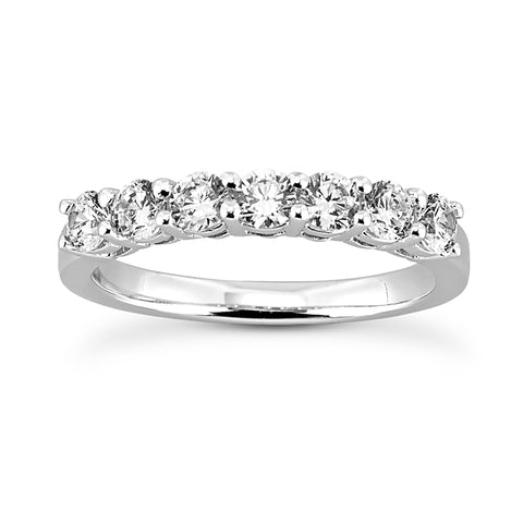 Classic Seven Stone Prong Set Diamond Band in White Gold