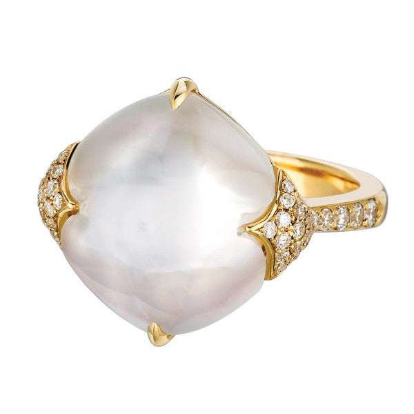 Doves White Orchid Yellow Gold Ring with Mother of Pearl and Diamonds